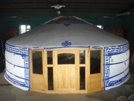 5-muurs Yurt met deurpaneel met 3 raampjes en  half grote raampanelen
