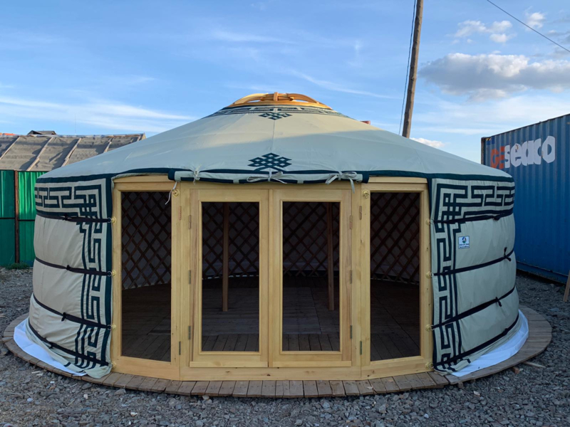 6-muurs Yurt Sunshine met serredeur en serre raampanelen