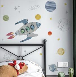 Muursticker ruimte raket en planeten kinderkamer jongen