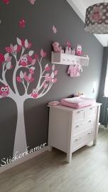 Muursticker boom roze  fuchsia met uilen en vogels