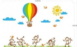 Muursticker apen en luchtballon kinderkamer