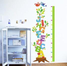 Muursticker groeimeter - hoogtemeter educatief letters