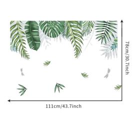 Muursticker tropisch decoratieve groene palmbladen stickers
