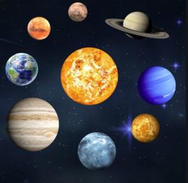 Muursticker glow in the dark planeten kinderkamer