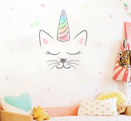 Muursticker unicorn - eenhoorn kat hartjes