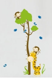 Muursticker hoogtemeter boom met aapjes en giraffe