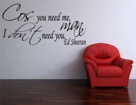 Ed Sheeran You Need Me I Don't Need You. Muursticker / Interieursticker