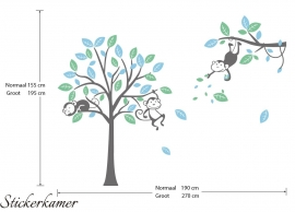 Muursticker boom en apen mint / licht blauw