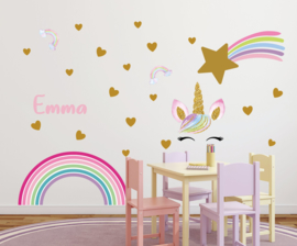 Muursticker unicorn complete set XL kinderkamer meisjes