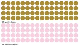 Muursticker stippen goud 64x en pastel roze 64x