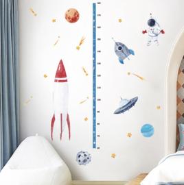 Muursticker groeimeter - hoogtemeter raket en ruimte planeten thema
