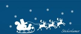Kerstman op slee en rendieren met ijsvlokken