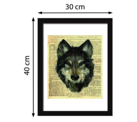 Muursticker / poster Wolf krant look newspaper