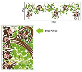 Slingerende aapjes op lianen muursticker kinderkamer