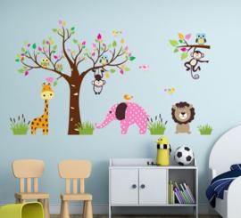 Muursticker boom apen, uilen, olifant, giraffe  kinderkamer