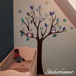 Muursticker boom met uilen en vogels kinderkamer
