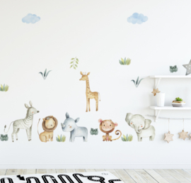 Muursticker jungle dieren / beesten kinderkamer