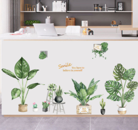 Muursticker groene planten variatie muurdecoratie