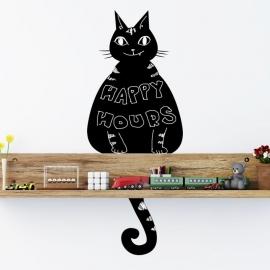 Muursticker kat - poes krijtbord blackboard sticker