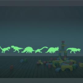 Muursticker glow in the dark dino kinderkamer