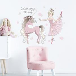 Muursticker unicorn en prinses kinderkamer meisjes roze