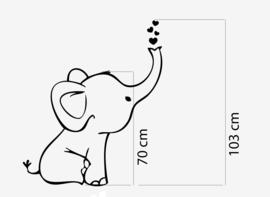 Muursticker baby olifant  hartjes (naamsticker)