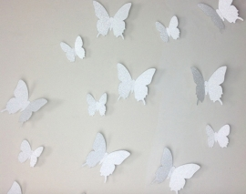Muursticker losse 3d vlinders (zilver glitters)