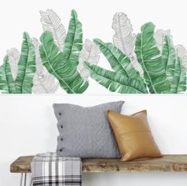 Muursticker tropisch decoratieve groene en witte palmbladen stickers