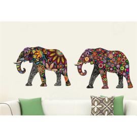 Muursticker olifant bloempatroon 4x