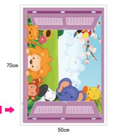 Muursticker kinderkamer raam beestenboel