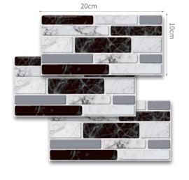 Tegel stickers marmer zwart en wit  tegels 20 x 10 cm