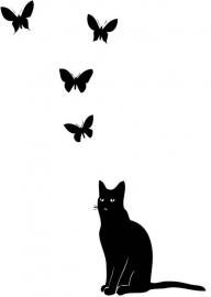 poes / kat met vlinders