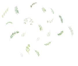 Muursticker losse takjes - blaadjes groen - sierlijk