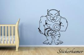 Muursticker sterke bodybuilding dinosaurus met gewichten (6)