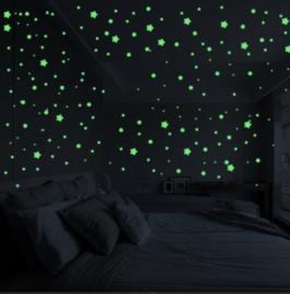 Muursticker glow in the dark sterren 127 stuks