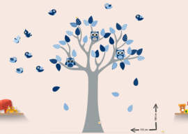 Muursticker Grow tree thema blauw