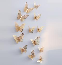 12 stuks gouden 3d vlinders muurdecoratie (3)