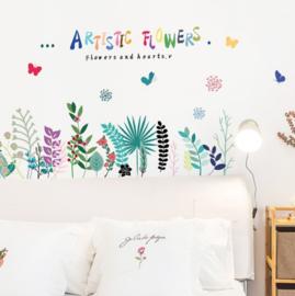 Muursticker assortiment van artistiek gekleurde bloemen strook / plint