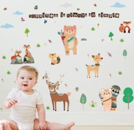 Muursticker nordic indianen dieren - beesten babykamer / kinderkamer