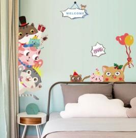 Muursticker / deursticker poes - katten kinderkamer