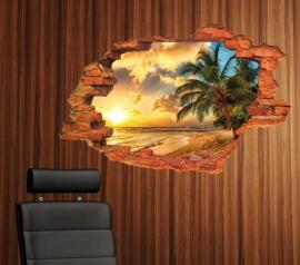 Muursticker uitzicht op het strand en palmboom muurdecoratie