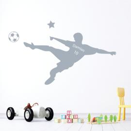 Muursticker stoere voetbal naamsticker kinderkamer jongen
