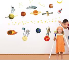 Muursticker ruimte planeten  - voertuigen - aliens - kinderkamer - jongen