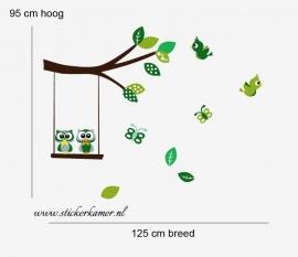 Muursticker tak met uilen en vogels groen