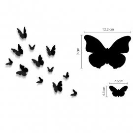 Muursticker losse 3d vlinders (Zwart)