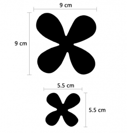 Muursticker losse 3d bloemen (zwart)
