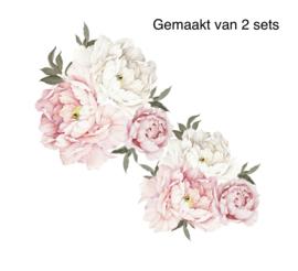 Muursticker pioen rozen / bloemen roze - wit