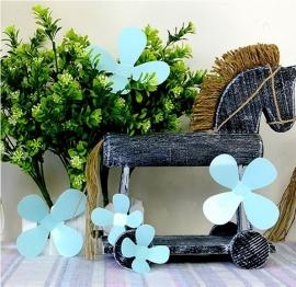 Muursticker losse 3d bloemen (turqoise)