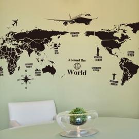 Muursticker wereldkaart in zwart