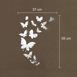 Muurdecoratie vlinders met spiegel effect.